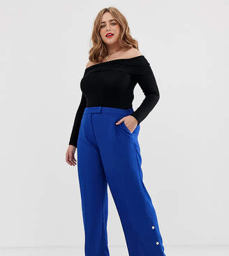 Simply Be wide leg tailored pants with button detail in cobalt blue