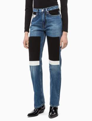 Calvin Klein CKJ 030 straight high rise patch jeans