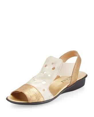 Sesto Meucci Eddy Perforated Comfort Sandal, Platino Lusito/Gold $230 thestylecure.com