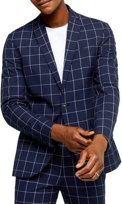 Topman Skinny-Fit Windowpane-Print Suit Jacket