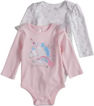 """Baby Starters Baby Girl 2-pack """"You Are Magical"""" Graphic & Glitter Heart Bodysuits"""