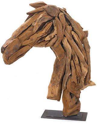 "One Kings Lane 27"" Wood Horse-Head Stand - Brown"