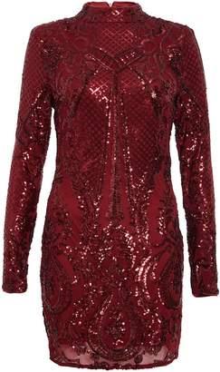 Quiz Berry Sequin Bodycon Dress