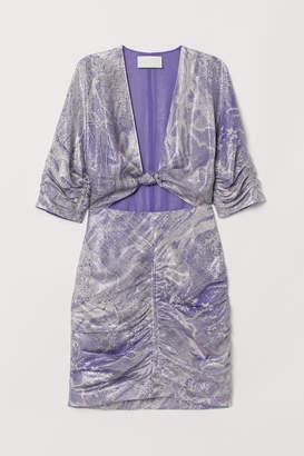 H&M Fitted Silk-blend Dress - Purple