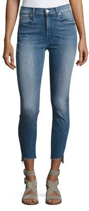 Mother Denim Stunner Zip Ankle Step Fray Jeans, Blue $220 thestylecure.com