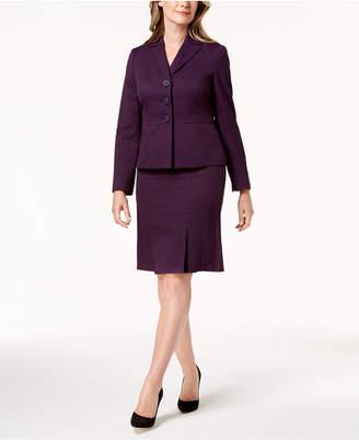 Le Suit Three-Button Cross-Hatch Skirt Suit, Regular & Petite