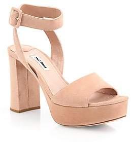 0756f01cb13 Miu Miu Women s Suede Ankle-Strap Platform Sandals
