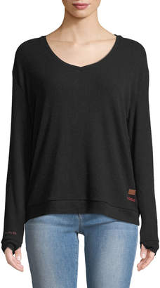 Peace Love World Catherine Ribbed Lace-Back Sweater, Black