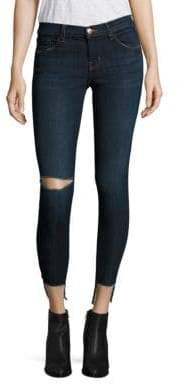 J Brand 9326 Distressed Low-Rise Cropped Step Hem Jeans/Disguise Destruct