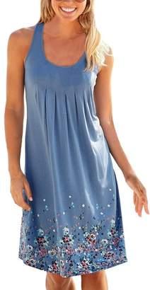 SmallDragon Women's Summer Casual Loose Mini Dress Print Pleated Sleeveless Sundress A-Line Beach Dresses