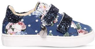 MonnaLisa Floral Print Neoprene Strap Sneakers