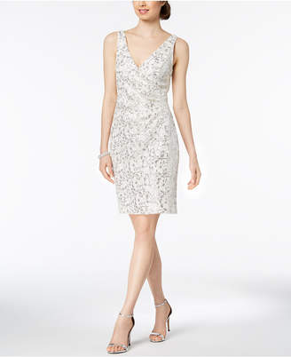 Vince Camuto Sequined Lace Surplice Dress