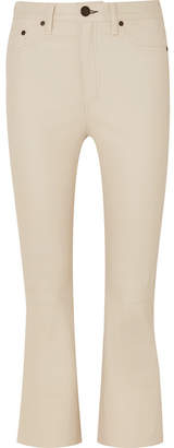 Rag & Bone Hana Cropped Leather Flared Pants - Cream