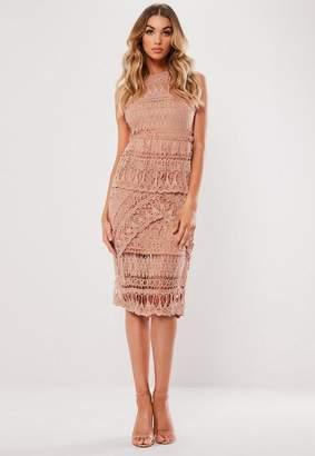 Missguided Blush Crochet Layered Midi Dress