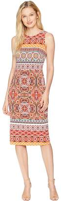 Maggy London Kaleidscope Flower Printed Jersey Sheath Women's Dress