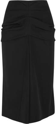 Lemaire Gathered Wool And Cotton-blend Twill Midi Skirt - Black