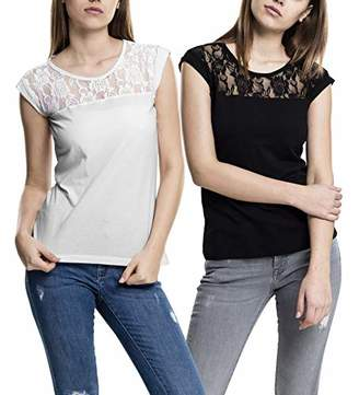 74505994 Urban Classic Women's Ladies Top Laces Tee T-Shirt,Small (Pack of 2