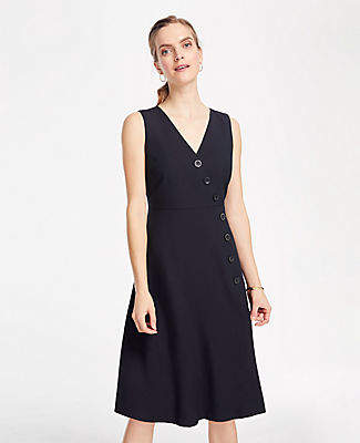 Ann Taylor Petite Side Button Linen Blend Flare Dress