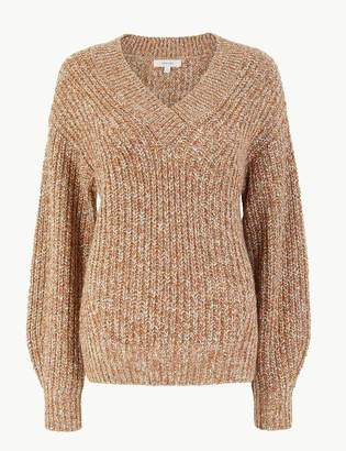 Marks and Spencer Textured V Neck Relaxed Fit Jumper