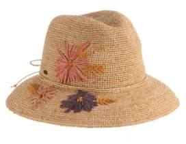 Dorfman Pacific Scala Crochet Raffia Safari Hat with Embroidery