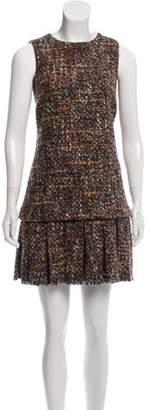 Dolce & Gabbana Bouclé Knit Flounce Dress Orange Bouclé Knit Flounce Dress