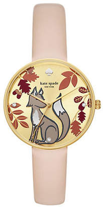 Kate Spade Metro Three-Hand Nude-Leather Watch