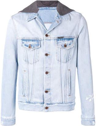 Off-White contrast hood distressed denim jacket