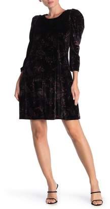 Cynthia Steffe CeCe by Enchanted Paisley 3/4 Sleeve Velvet Dress