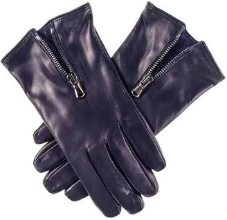 Black Navy Blue Leather Gloves with Zip Detail - Cashmere Lined