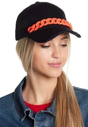 Steve Madden Chain Distressed Brim Trucker Hat