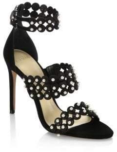Alexandre Birman Pearl Triple-Strap Suede Sandals