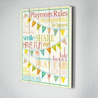 Viv + Rae Playroom Rules Wooden Wall Plaque