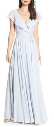 Jenny Yoo Faye Ruffle Wrap Chiffon Evening Dress