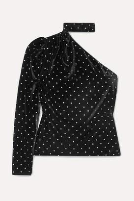 Self-Portrait One-shoulder Crystal-embellished Velvet Top - Black