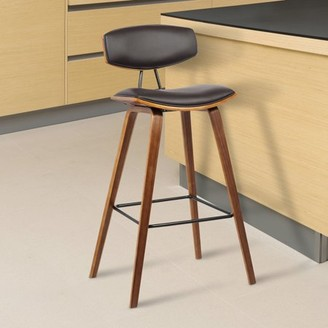 """Armen Living Fox 30"""" Mid-Century Bar Height Barstool in Brown Faux Leather with Walnut Wood"""