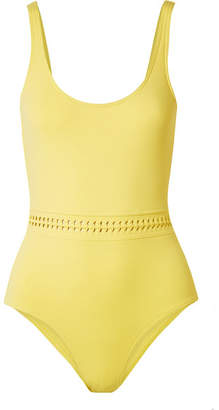 Eres Close Up Blurry Braid-trimmed Swimsuit - Yellow
