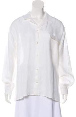 Luciano Barbera Linen Long Sleeve Button-Up