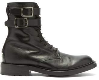 Saint Laurent Double Buckled Leather Combat Boots - Womens - Black