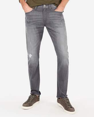 Express Slim Gray Distressed Stretch Jeans