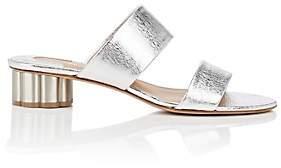 Salvatore Ferragamo Women's Flower-Heel Metallic Leather Sandals - Silver