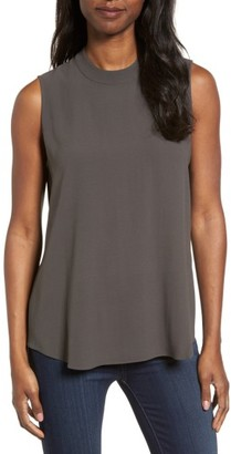 Women's Eileen Fisher Silk Crepe High Neck Sleeveless Blouse $218 thestylecure.com
