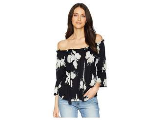 Lucky Brand Floral Print Off Shoulder Top