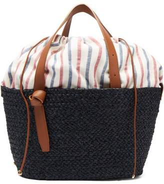 Cesta Collective - Small Woven Raffia Basket Bag - Womens - Navy Multi