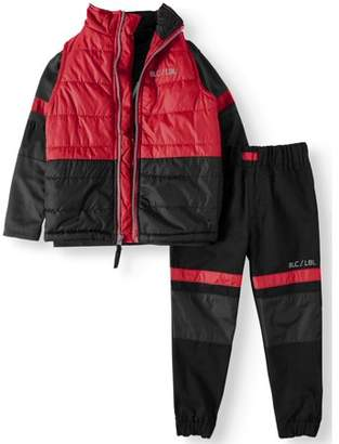Blac Label Puffer Vest, Tee and Twill Jogger 3 Piece Set (Big Boys)