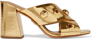 Michael Kors Collection - Brianna Embellished Metallic Leather Mules - Gold $460 thestylecure.com