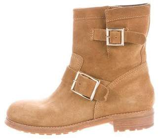 Jimmy Choo Suede Moto Ankle Boots