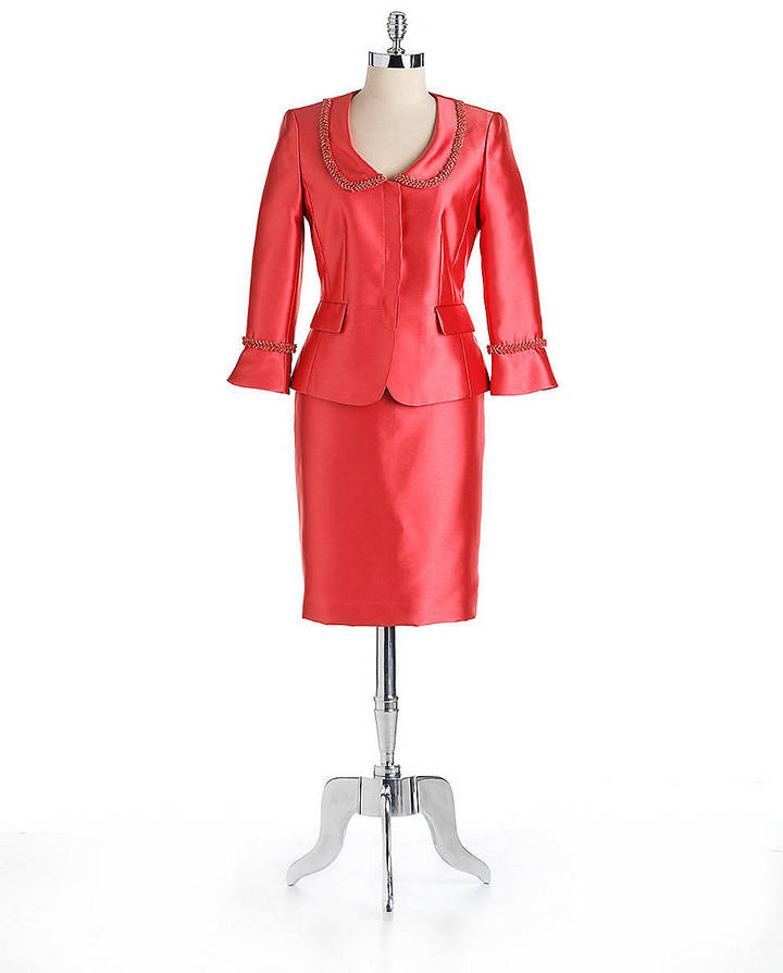 Tahari ARTHUR S. LEVINE Vivianalee Beaded Two-Piece Skirt Suit