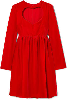 Chloé Cutout Velvet Mini Dress - Red