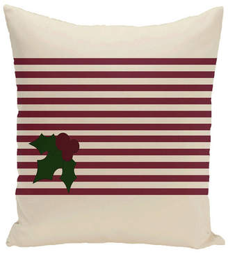 E By Design 16 Inch Off White and Maroon Decorative Striped Throw Pillow