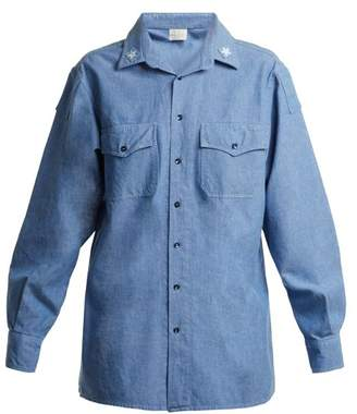 Myar - Its0a Italian Star Patch Chambray Shirt - Womens - Light Blue